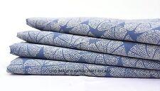 5 Yards Sanganer Design Hand Block Print Fabric Indian Cotton Blue Indigo Fabric