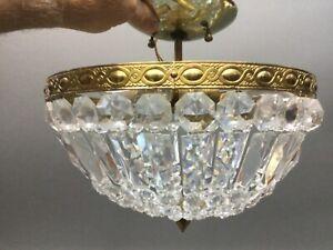 """Vintage Brass Crystal Beaded Basket Flush Mount 11.5"""" Chandelier Ceiling Light"""