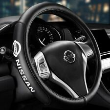 """Genuine Leather For NISSAN New Black 15"""" Diameter Car Auto Steering Wheel Cover"""