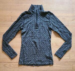 SmartWool Womens SZ S Gray Chevron Pattern Zip Base Layer Merino Wool Flaws *