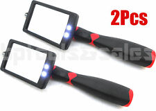(2) LED Lighted Inspection Mirror Telescoping Illuminate Bright Extendable 34""