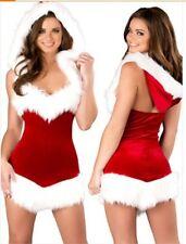 Womens Mrs Santa Claus Christmas Fancy Dress Fur Costume Cosplay Xmas Outfit UK
