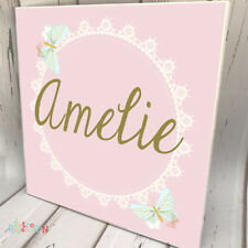 KIDS DOOR SIGN Wooden Name Plaque Custom Personalised Butterfly Lace Pink Decor