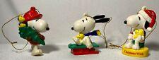 New ListingSet of 3 Vintage Peanuts Snoopy Christmas Ornaments