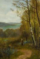 Attrib. Daniel Sherrin (1868-1940) - Signed 20th Century Oil, Bluebell Forest
