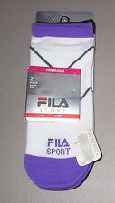 FILA~Shoe 5-9~Women's 2 Pr Purple/Black/White Aerator Mesh Low Cut Socks 3275DF