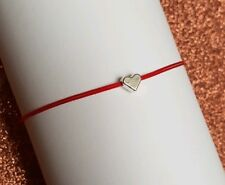 Red Cord Bracelet Polyester 0,5 mm With Love Heart Pendant