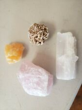 4 piece Mineral collection Rose quartz, Selenite, Desert Rose, Honey calcite