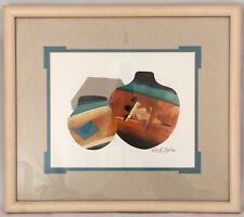 David Paul Hand Signed Gouache Original Vintage 1991 Native American Art Framed
