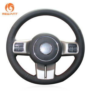 Soft Black Leather Steering Wheel Cover for Jeep Compass Grand Cherokee Wrangler
