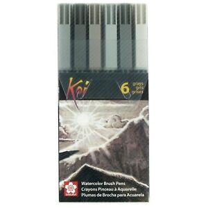 Sakura XBR-6SA Koi Watercolor Coloring Brush Pen Set, 6 Count, Assorted Grays