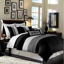 8 Pc Luxury Super Set Black / White / Grey Faux Silk Comforter Set King Size .