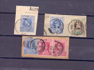 "Seychelles 3 fragment with nice cancel ""La Digue"" and ""Seychellles"" 1904 Nice!!"