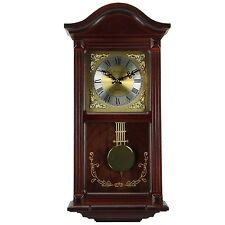 "22"" BEDFORD COLLECTION MAHOGANY CHERRY OAK FINISH WALL CLOCK w/ PENDULUM & CHIME"