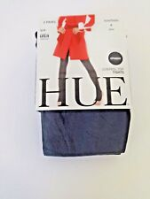 HUE OPAQUE CONTROL TOP TIGHTS 2 PR CHARCOAL BLACK PLUS SIZE 4 MADE IN USA