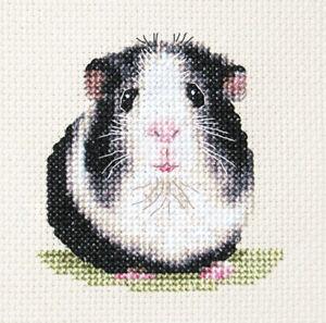 Black and White GUINEA PIG  Full counted cross stitch kit  Fido Stitch Studio