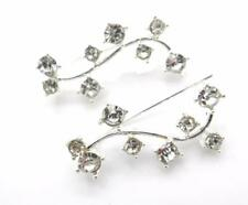 New Ear Cuff Pins Trails Upwards Pair Earrings Silver Plated Crystal Vine