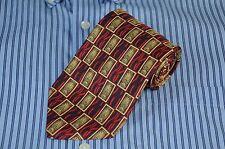 Richel Royal Men's Luxury Navy Red & Gold Geometric Silk Tie Necktie New