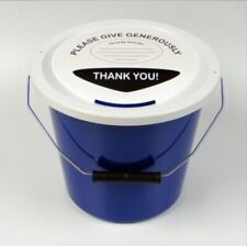 More details for 6 charity money collection buckets lids, labels & ties for fundraising-navy blue