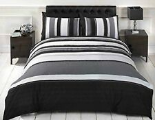 Signature Striped Duvet Cover and Pillowcase Bedding Bed S/D/K - Black