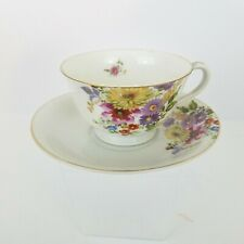 Vintage Occupied Japan Floral Bone China Tea Cup And Saucer