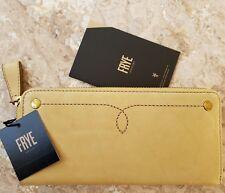 NWT FRYE Campus Rivet Slim American Leather Zip Around Wallet Banana $158