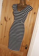 Black White Striped stretchy bodycon pencil wiggle galaxy dress size 16