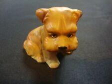 NEW Ceramic Porcelain Light Brown hollow Dog Fragile Animal Figurine 3 Inch Tall