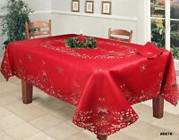 Christmas Embroidered Poinsettia Candle Tablecloth With Napkins RED Holiday 6676