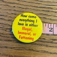 Vtg 90s Novelty Button Everything I love Immoral Illegal Fattening Pinback