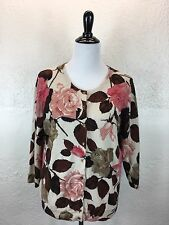 #S30 Talbots XL 100% Cashmere Floral Rose Pink Ivory Cardigan Sweater 3/4 Sleeve