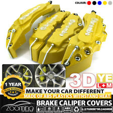 "Yellow 3D Style Brake Caliper Covers Universal Car Disc Front Rear Kit 10.5"" LW2"