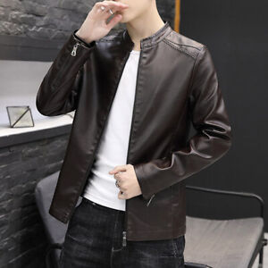 Pu Leather Motorcycle Jacket Korean Fashion Stand Collar Casual Outwear Coat Men