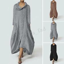 ZANZEA Womens Retro Turtle Neck Long Sleeve Casual Tunic Shirt Dress Kaftan Plus