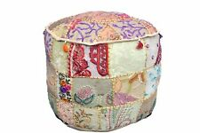 Indian Patchwork Round Pouf Ottoman Cover Foot Stool Moroccan Pouffe Cover