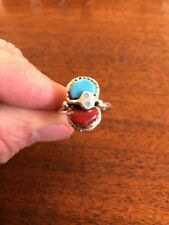 Native American Womens Zuni Turquoise & Coral Effie C. Ring Size 9 Stunning #F