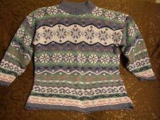 Woman's Dana Scott Long Sleeve Sweater, Winter Print, M, Pre Owned