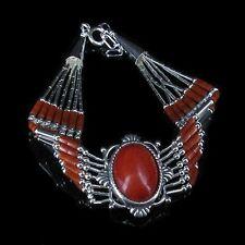 PETITE 5 Strand .925 Sterling Silver Genuine Orange Red Coral Bracelet