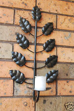 A Pair of Iron Leaf Candle Holder Wall Sconce Dark Antique Brown