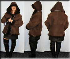 New Hooded Brown Suede Shearling Lamb Fur Lining Size Extra Large XL