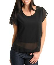 """NEW! B_ENVIED Very SEXY Black CLUB Top w/ SHEER LACE Back ~ Large / Bust to 36"""""""