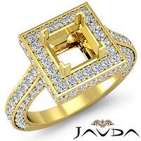 Diamond Engagement Pave Filigree Ring Princess Semi Mount 14k Yellow Gold 1.6Ct