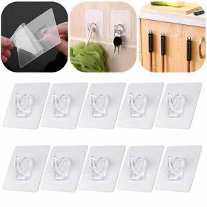 10x Anti-skid Hooks Reusable Strong Sticky Traceless Transparent Wall Hooks Set