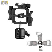 Swivel Triple 3in1 Flash Speedlight Hotshoe Bracket w/ Multi-angle Mini Ballhead