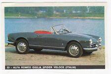 FIGURINE LA MIA AUTOMOBILE OGGI NUMERO 53 ALFA ROMEO GIULIA SPIDER (ITALIA)