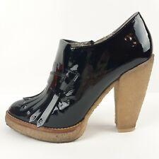 Belle Sigerson Morrison Kiltie Platform Bootie High Heel Black Patent Sz 7.5
