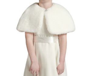 Flower Girl Faux Fur Shrug/Bridesmaid Wedding Bolero/Child Cape/Cover up,Brooch