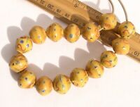 Antique Fancy Yellow Bicone King Beads (15) African Trade Venetian Glass