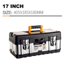 Multifunctional portable storage box, stainless steel tool box cover, 17 inch