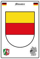 Münster Alemania Escudo Letrero de Metal Arqueado Metal Tin Sign 20 X 30CM